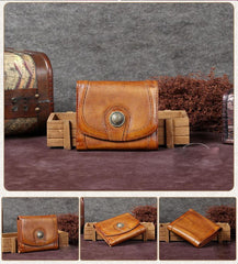 Brown Vintage Womens Leather Buckle Small Trifold Wallet Short Wallet Purse for Ladies