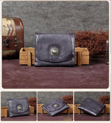 Grey Vintage Womens Leather Buckle Small Trifold Wallet Short Wallet Purse for Ladies