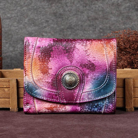 Vintage Colorful Womens Leather Buckle Small Trifold Wallet billfold Wallet Purse for Ladies
