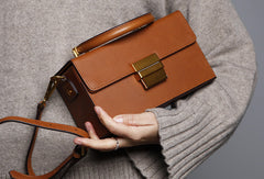 Genuine Leather Cute Cube Box Handbag Crossbody Bag Shoulder Bag Women Leather Purse