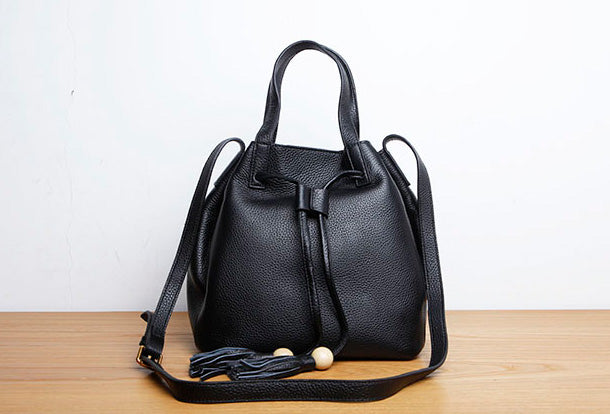 Genuine Leather Cute Women Bucket Bag Handbag Crossbody Bag Shoulder Bag Women Leather Purse