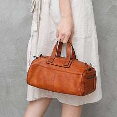 Red Women's Leather Doctor Tool Handbag Doctor Brown Shoulder Purse for Ladies