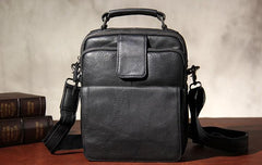Black Leather Mens Small Shoulder Bag Messenger Bag Crossbody Bag for Men