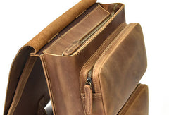 Genuine Leather Mens Cool Backpack Briefcase Bag Travel Bag Hiking Bag For Mens