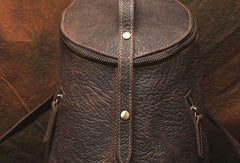 Genuine Leather Mens Cool Bucket Backpack Travel Bag Hiking Bag For Mens