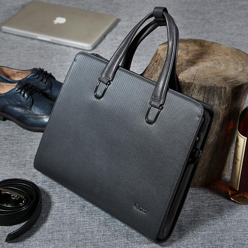 4aebc06dbf4 Black Leather Mens Cool Briefcases Work Bag Business Bag Laptop Bag for men