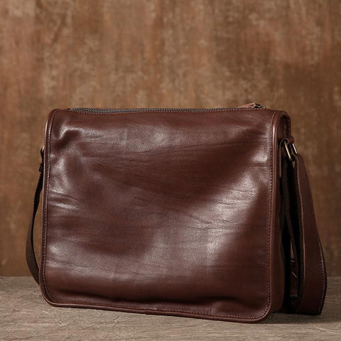 Coffee Leather Mens Cool Shoulder Bag Messenger Bags  for men