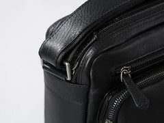 Genuine Leather Mens Cool Black Small Shoulder Bag Messenger Bag Bike Bag Cycling Bag for men