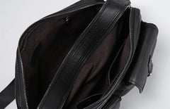 Leather Mens Cool Black Small Messenger Bag Shoulder Bag Bike Bag Cycling Bag for men
