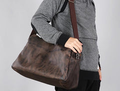 Leather Mens Travel Bag Cool Messenger Bag Shoulder Bag Handbag Weekender Bag for Men