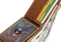 Genuine Leather Mens Wallet Cool Short Slim Bifold Wallet Card Coin Holder Wallet Purse for Mens