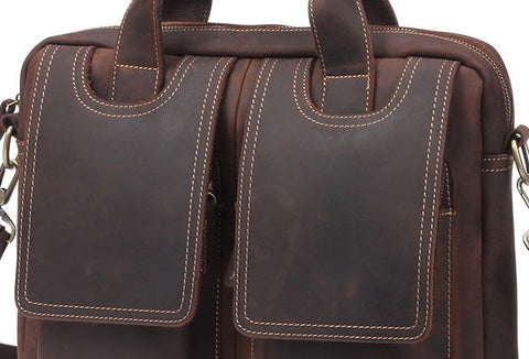 Vintage Mens Brown Leather Briefcase Work Bag Business Handbag For Men