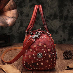 Red Genuine Leather Womens Rivet Round Boston Handbag Brown Shoulder Bag Purse for Ladies