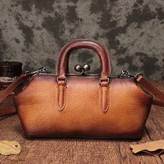 Green Vintage Ladies Leather Doctors Handbag Brown Doctor Style Shoulder Bag Purse for Women
