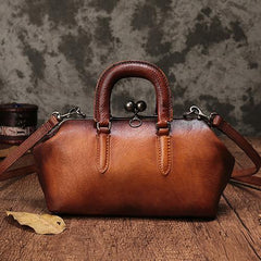 Vintage Womens Leather Doctor Style Handbag Small Doctor Shoulder Bag Shoulder Purse for Ladies