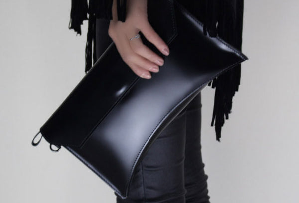 Genuine leather large black big clutch purse clutch zip wallet women