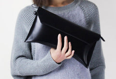Genuine women leather large black Large clutch purse clutch zip wallet