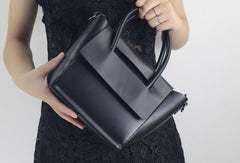 Genuine Leather handbad shoulder bag blue black for women leather shopper bag