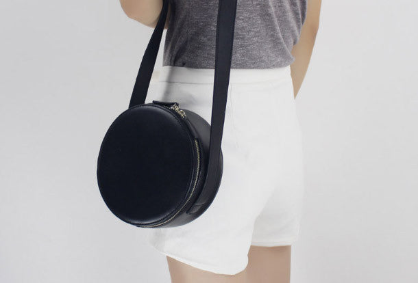 Genuine Leather round bag shoulder bag black for women leather crossbo