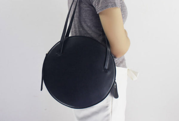 Genuine Leather round bag shoulder bag purse for women leather backpac ff4ce70952244