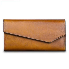 Brown Womens Vintage Leather Long Wallet Red Bifold CLutch Long Purse for Ladies