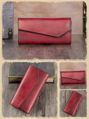 Grey Geometric Womens Genuine Leather Tan Long Wallet Red Clutch Phone Purses for Ladies