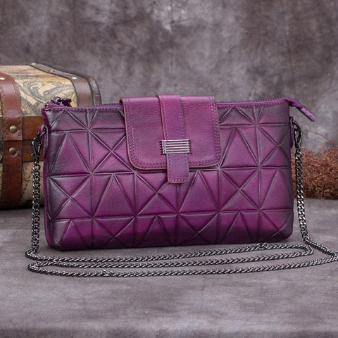 Purple Leather Geometric Womens VIntage Chain Shoulder Bag Side Bag Red Chain Clutch Purse for Ladies