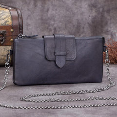 Purple Leather Womens VIntage Chain Shoulder Bag Side Bag Brown Chain Clutch Purse for Ladies