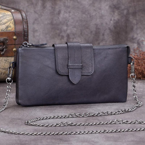 Grey Leather Womens Zipper CHain SHoulder Bag Long Wallet Phone Purple Chain Clutch Purse for Ladies