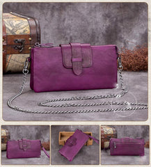 Brown Leather WOmens VIntage CHain Shoulder Bag Side Bag Purple Chain CLutch Purse for Ladies