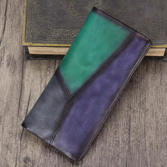 Geometric Womens Leather Long Clutch Wallet Long Wallet Colorful Bifold Long Purse for Ladies