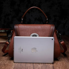 Brown Geometric Vintage Womens Handbag Leather Black Shoulder Handbag Purse