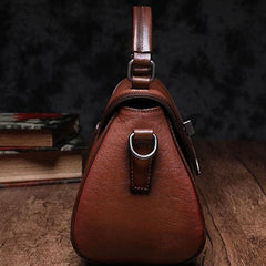 Red Geometric Vintage Womens Handbag Leather Brown Shoulder Handbag Purse for Ladies