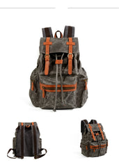 Gray Waxed Canvas Mens Waterproof Large 14'' Hiking Backpack Travel Backpack Computer Backpack College Backpack for Men