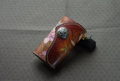 Handmade key wallet leather vintage hand painting lily flower leather keys wallet for women/men