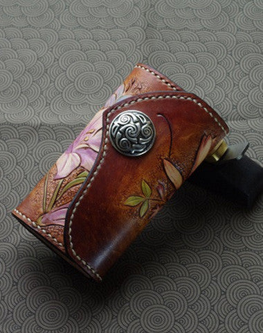 Handmade key wallet leather vintage hand painting lily flower leather 69064d90d