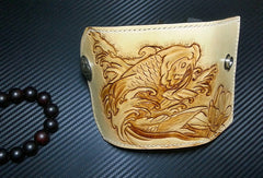Handmade key wallet vintage carved flower&Cryprinus carpiod leather keys wallet for women/men