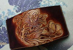 Handmade men wallet vintage flower&Cryprinus carpiod leather billfold wallet for women/men