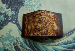 Handmade men wallet vintage hand carved flower&Cryprinus carpiod leather short wallet for men