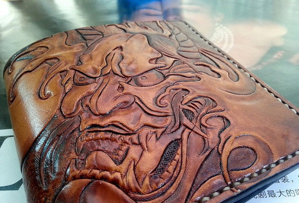 Handmade men wallet vintage hand carved prajna ghost leather short wallet for men