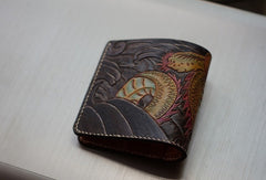 Handmade men wallet vintage hand carved Azure Dragon leather billfold wallet for men
