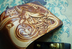 Handmade men wallet vintage hand carved prajna ghost leather billfold wallet for men