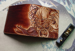 Handmade men wallet vintage hand painting chinese lion leather billfold wallet for men
