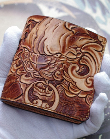 Handmade men wallet vintage hand painting chinese lion leather short wallet for men