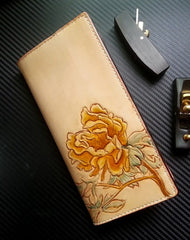 Handmade women leather wallet vintage hand carved tree peony leather long wallet for women