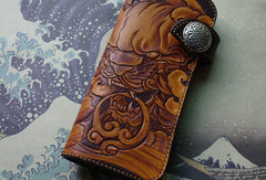 Handmade biker wallet vintage hand painting chinese lion leather biker wallet for men
