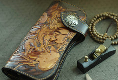 Handmade biker wallet vintage carved Ganesha&Cryprinus carpiod leather biker wallet for men