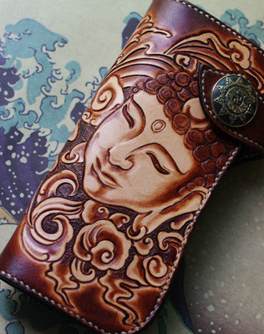 Handmade biker wallet vintage hand painting Sakyamuni leather biker wallet for men