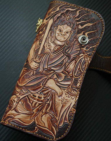 Handmade biker wallet vintage hand painting Acalanatha leather biker wallet for men