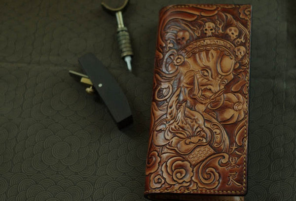 Handmade men wallet vintage hand painting god of law leather biker wallet for men